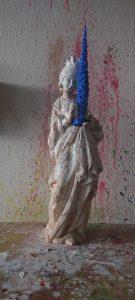 Pappel blau ;weisse Maske in Lack; Linde pigmentiert